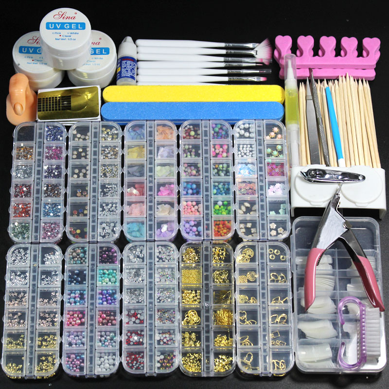 10 Box Nail Acrylic Powder Glitter Manicure Set For Nail Art Kit Gems Decoration Crystal Rhinestone Brush Tools Kit For Manicure