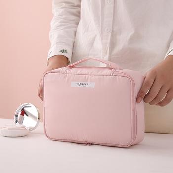 Mężczyźni kobiety profesjonalna kosmetyczka kosmetyczka organizator do torby podróż makijaż walizki duża pojemność kosmetyki walizki różowy niebieski tanie i dobre opinie CETIRI Poliester Lady Stałe 0 3kg organizer bag zipper