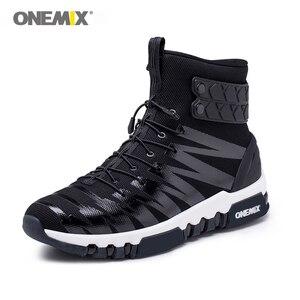 Image 1 - ONEMIX çizmeler erkekler için koşu ayakkabıları yüksek Top Trekking spor ayakkabılar çapraz spor açık koşu Sneakers rahat yürüyüş