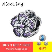 Fit pandora charm Bracelet Silver 925 Original flower Beads with purple&white CZ pandora fashion jewelry making for women Gift