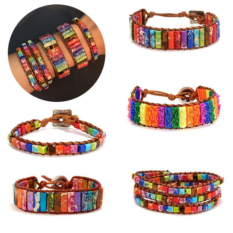 Multicolor Bracelet Boho Natural Stone Wrap Bracelet Chakra Bracelet Dropshipping Single Leather Wrap Bracelet Power Jewelry