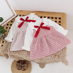 Doce primavera outono meninas vestido crianças princesa bowtie vestido crianças bebê infantil da criança roupas de manga longa vestidos