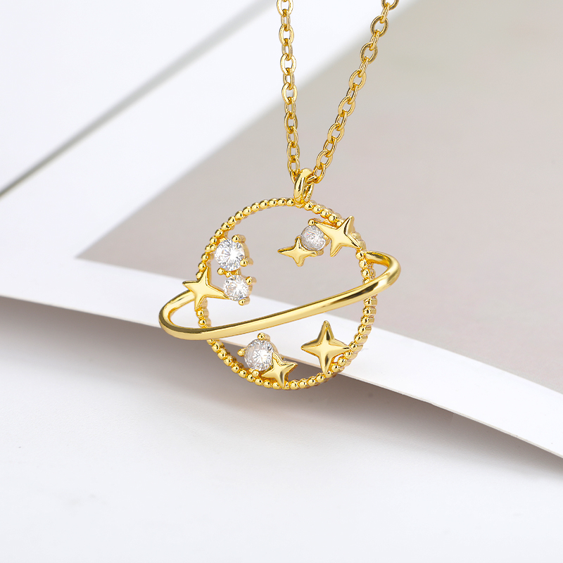 Planet Star Pendant Necklace For Women Gold Silver Color 2