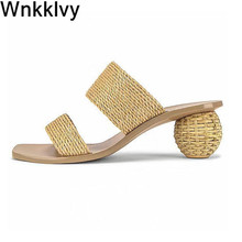 Slippers Summer Shoes High-Heels Gladiatorsandals Woman Ladies Cane Ball Hemp-Rope Mullers