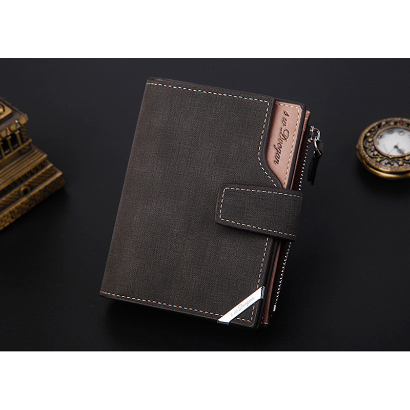 H306e09950ae6490d98116f53d1762d52u - New Business men's wallet Short vertical Male Coin Purse casual multi-function card Holders bag zipper buckle triangle folding