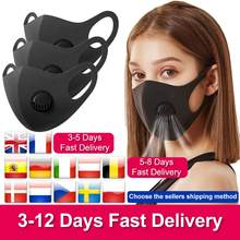 Unisex Washable Face Mouth Mask with Filters 브리더 밸브 방진 PM2.5 안개가 자욱한 헤이즈 오염 성인용 반 얼굴 호흡기(China)