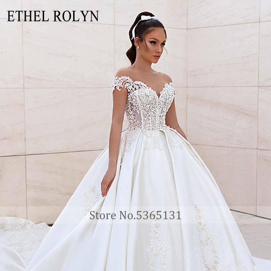 אתל ROLYN כדור שמלת חתונת שמלת 2020 רויאל סאטן חרוזים תחרת אפליקציות כבוי כתף נסיכת הכלה שמלת Vestido דה noiva