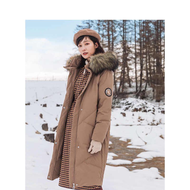 をインマン 2019 冬の新到着の刺繍フード暖かい女性ロングダウンコート