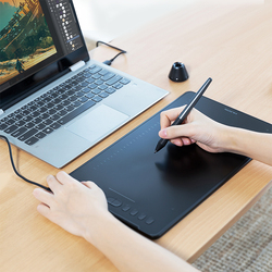 HUION H1161 Graphics Drawing Tablet with Touch Bar Tilt Function 8192 Levels Digital Tablet with Battery-free Pen Stylus GiftS
