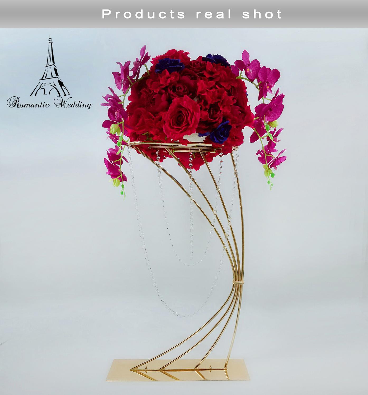 32 Высокая золотая металлическая подставка для цветов для свадебного украшения стола - 3