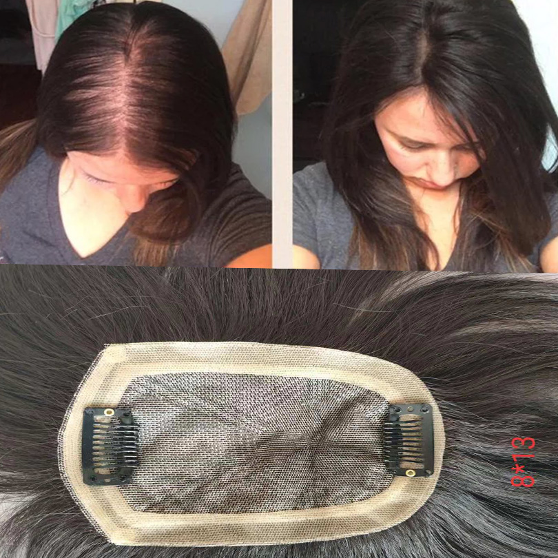 Women Toupee Straight Intermediate Silk Base With Clips In Hair Hairpiece Volume Extension Remy Human Hair Natural  Free Ship