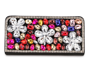 Image 4 - Hohe Qualität Luxus Diamant Blume Pu Leder Mode Geldbörse Karte Halter Lange Brieftaschen Frauen Clutch Tasche Geld Tasche Zipper tasche
