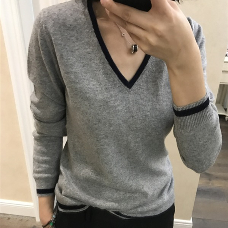 Hit Color Cashmere Cotton Blended V Neck Sweater Women 2020 Autumn Winter Knitwear Jumper Pull Femme