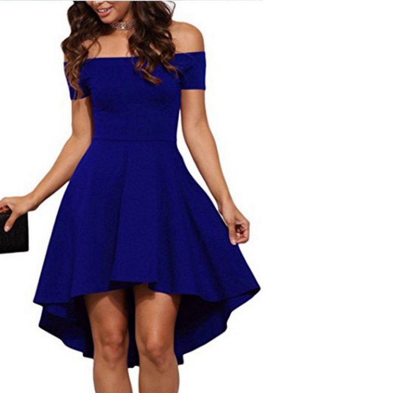 Fashion New Style 2020 Holiday Young Style Dress Solid Woman Sexy Slash Neck  Dress 1033