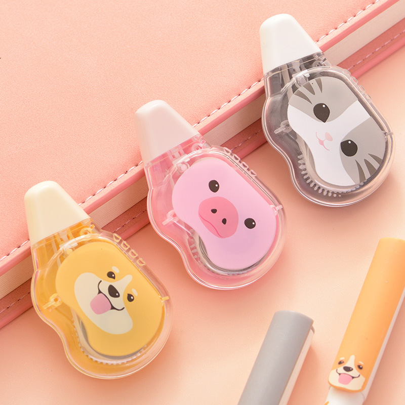Mini Dog Cat Pig Correction Tape Cute Decorative Tape Sticker Stationery Gift Office School Supplies Promotional Gift