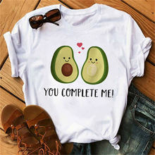Nova venda quente impresso kawaii cartoon camiseta feminina casual gráficos abacate abacate camisa de manga curta
