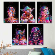 Sell Well Poster Nordic Abstract Color Star Wars Characters  No Frame Canvas Painting Modern Pictures vogue poster Gift