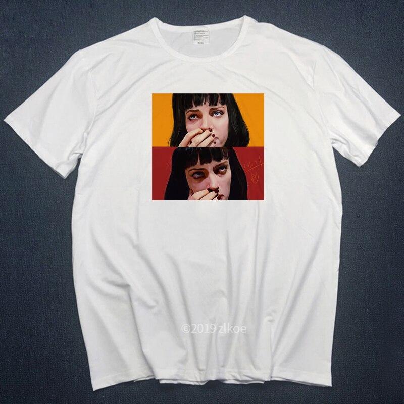 Spoof Harajuku 2019 Fiction T-shirt Summer Femme Mia Wallace Tshirt Life Is Boring Letter Men Tshirts MICHELANGELO Streetwear