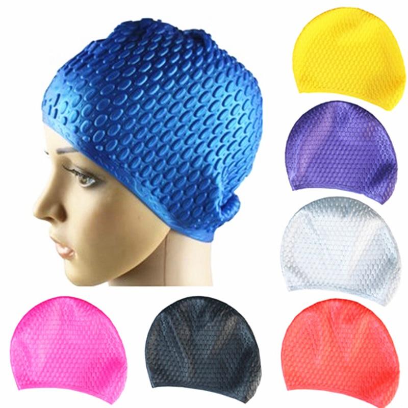 Силиконовые водонепроницаемые шапочки для купания защищает уши длинные волосы спортивные плавательные шапочки шапочка Плавательная шапо...