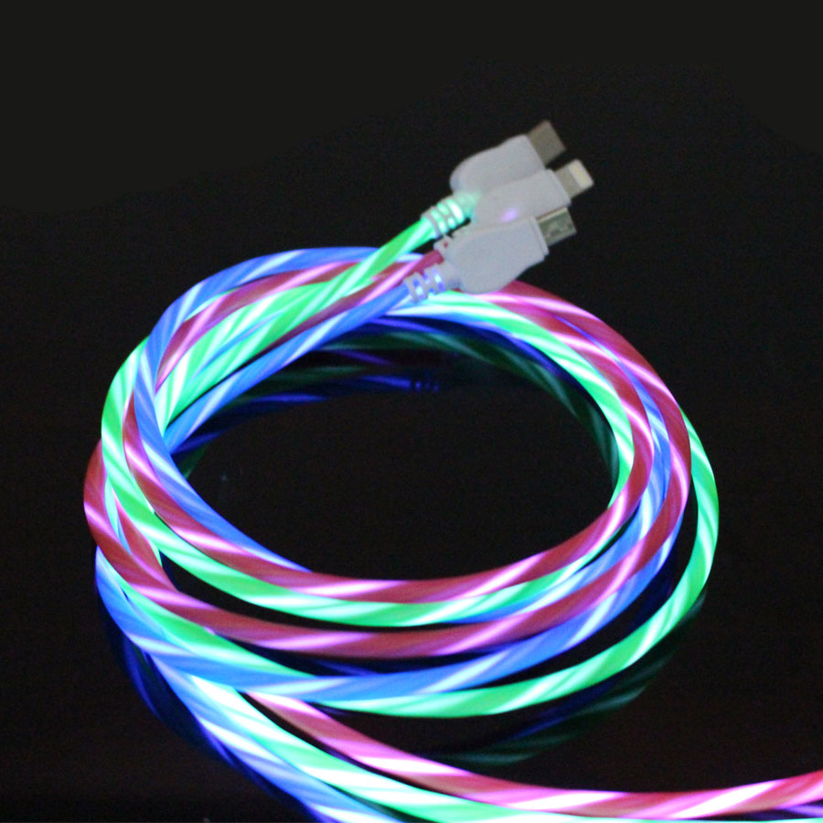 USB Cable LED Strip Light Flash Data Line 2A 1M Cable Micro USB Type-C For Cell Phone Samsung Xiaomi Iphone Huawei Charge Phone