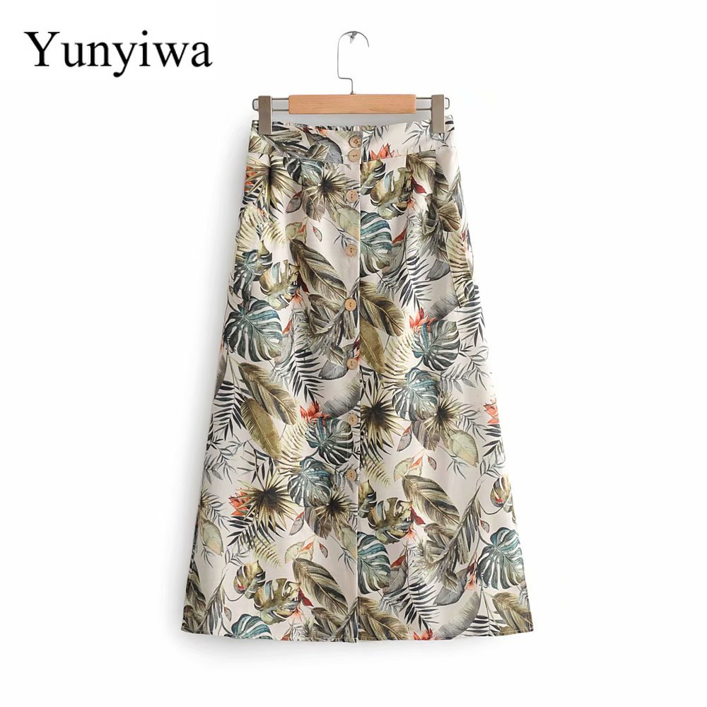 New Women Tropical Floral Leaves Print Split Midi Skirt Faldas Mujer Ladies Stylish Elastic Waist Vestidos Casual Skirts
