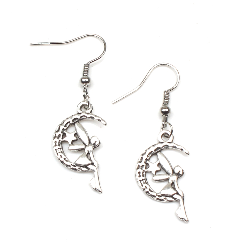 New Fashion Lot Antique Silver Moon Fairy Star Dangly Keychain Charm Pendant Dangle Keychain DIY Fashion Women Jewelry Gift in Key Chains from Jewelry Accessories
