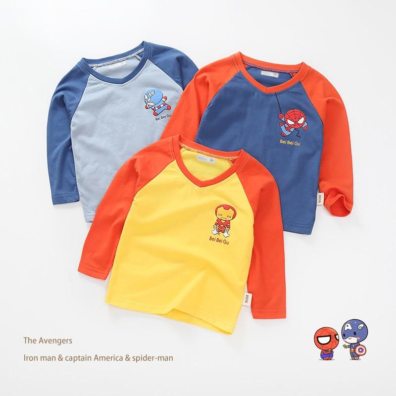 New Spring Boys Girls Cartoon Cotton T Shirts Children Tees Boy Girl Long Sleeve T Shirts Kids Tops Brand Baby Clothes 12M-8Y 43