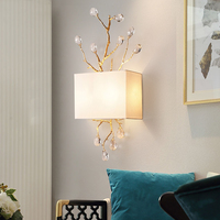 Retro gold crystal gate wall sconces modern led walkway wall lights bedroom princess room lamp white shade E27 crystal wall Lamp