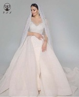 Arabian Design Robe De Mariee Illusion O Neck Beaded Stone Bling Bling Stright Muslim Wedding Dresses with Overskirt