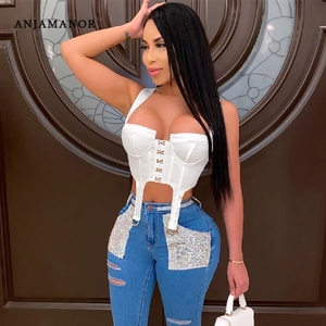ANJAMANOR Retro Corset Crop Top Women Club Wear Solid Cropped Vest Sexy Womens Clothing Bodycon Backless Tank Tops D42-CC13