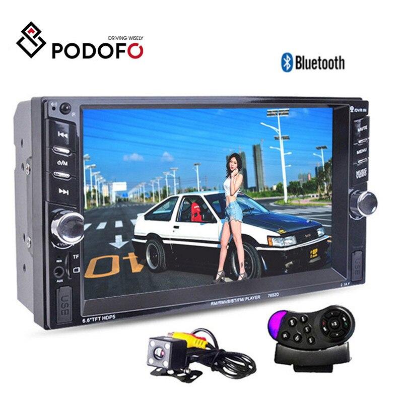 Podofo Autoradio 2 Din 6.6 ''pouces LCD écran tactile voiture Audio stéréo Bluetooth mains libres caméra de recul avec cadre