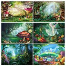 NeoBack виниловая Волшебный лес с изображениями грибочков для маленьких сказка земли; Платье принцессы на День рождения; Баннер для фотосессии фотографии Фоны