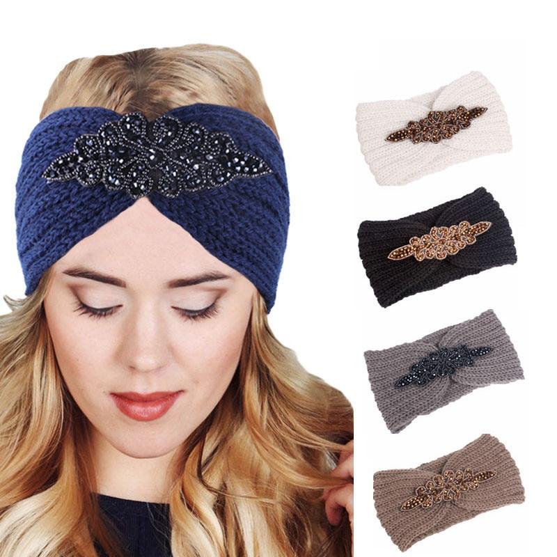 Luxury Women Winter Crochet Headband Jeweled Hair Band Head Wrap Twist Knitted Turban Headwarmer