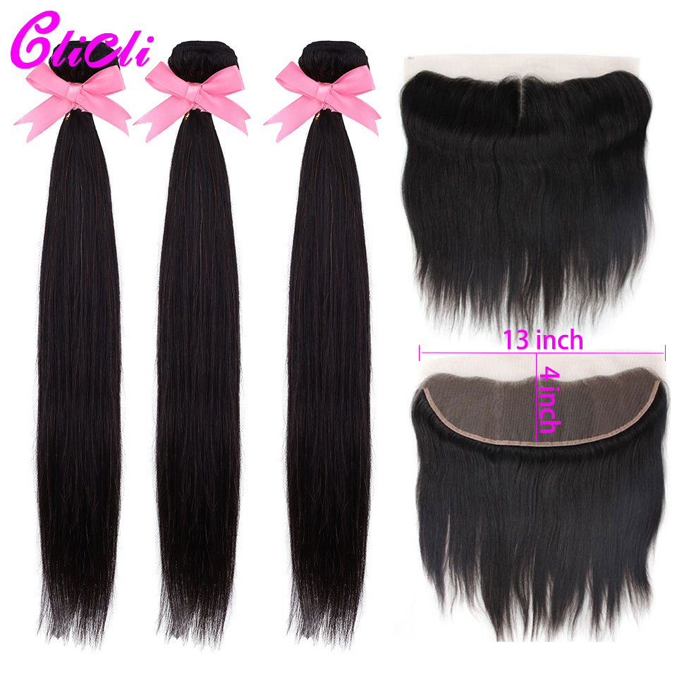 Indian Remy Human Hair Bundles With Transparent Lace Frontal 3 Bundles With 13x4 Lace Frontal Natural Hairline Bleach Knots