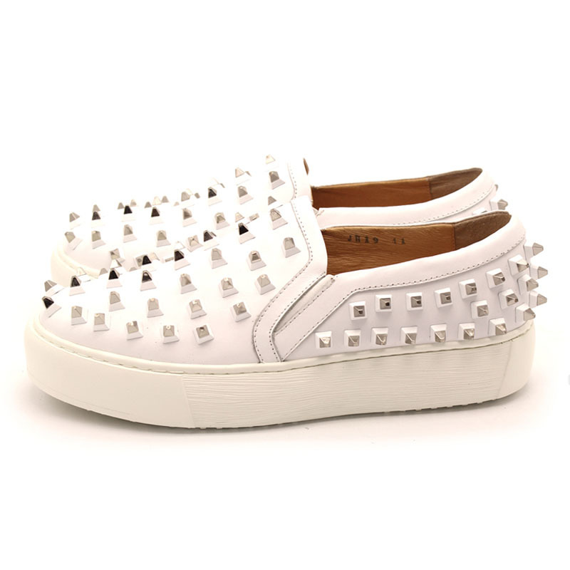 Handmade Rivet Lightweight Men Slip On Leather Loafers White Platform Shoes Casual Mens Shoes Genuine Leather Sneakers Plus Size