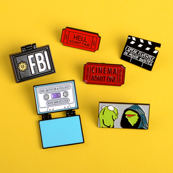 Cartoon Kirk enamel pin FBI Homer, fold Movie ticket pins brooches Frog Kermit Lapel pins badges clothes bag jewelry gift custom image