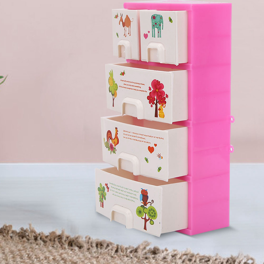 Doll House Cartoon Printing Closet Wardrobe Cabinet Bedroom Furniture Doll Accessories Girls Toys