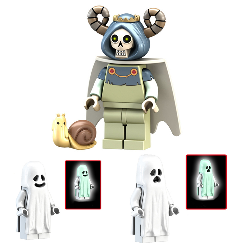 Ghost Series Blocks Toy Horror Figures Luminous Model Dolls Keychain Scream Gloom In The Dark Zombie Halloween Bricks Toys