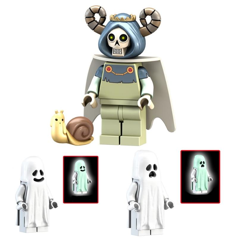 Ghost Series Blocks Toy Horror Figures Luminous Model Dolls Keychain Scream Gloom In The Dark Zombie Halloween Bricks Toys