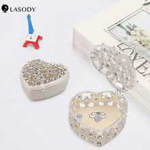 Fashion Hollow out  Metal Alloy Trinket Box Jewelry Ornate Glass crystal Finish Organizer with Floral Pattern faux sapphire alloy hollow out floral barrette