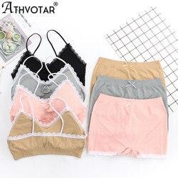 ATHVOTAR Lace Underwear Sets Simple Women Lingerie All-Match Comfortable Suits Boxer Briefs