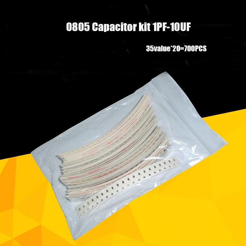 Комплект конденсаторов, 700 шт. 0805 1 pf-10 мкФ smd комплект конденсаторов 0805 Конденсатор Ассортимент образцов 0805 конденсатор книга для конденсато...