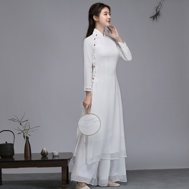 2020 Chinese Dress Cheongsam Qipao Party Oriental Evening Dress Pure White Cotton Linen Women Elegant Qipao Robe Retro Vestido