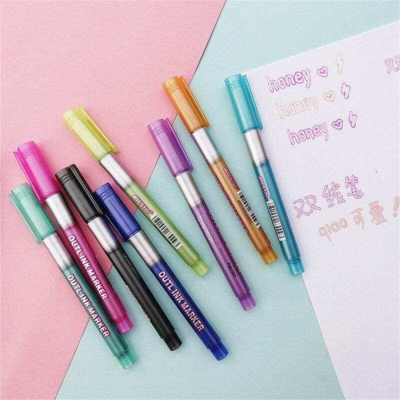 Горячая Распродажа, маркеры для выделения, двухрядные Контурные ручки, 8 цветов, самоклеящиеся, блестящие ручки для рисования и письма для к...
