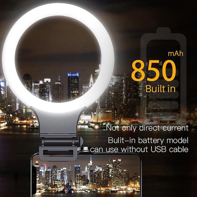 XJ31S anillo de luz LED regulable maquillaje Selfie anillo de luz de relleno giratorio transmisión en directo iluminación fotográfica