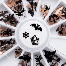 Mtssii Champagne Black Mix Halloween Shape Pumpkin Witch Spider Bell Snow Flakes Bat Metallic Nail Art Sequins Decorations(China)