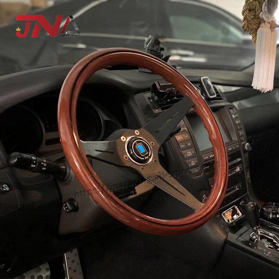 С роговой кнопкой 358 мм копия деревянного руля картинг руля
