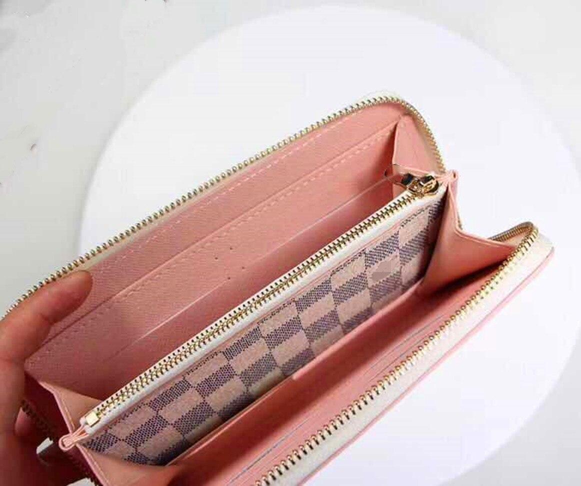 Women's Designer Plaid Leather Retro Long Zip Clutch Wallet Large Capacity Long Card Holder Organizer Ladies Purse With Dust Bag