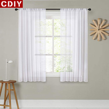 CDIY Short Curtains For Kitchen Voile Curtains For Living Room Modern Bedroom Curtains Window Screening Drapes Decor cheap Translucidus (Shading Rate 1 -40 ) Tulle Left and Right Biparting Open Ceiling Installation Y034duan Yarn Dyed French Window