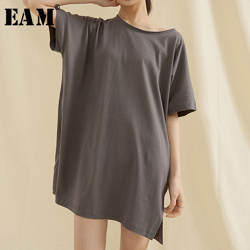 [EAM] Women Multicolor Gray Vent Long Big Size T-shirt New Round Neck Short Sleeve  Fashion Tide  Spring Summer 2020 1T596